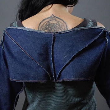 Denim Crop Jacket - Denim Jacket - Street wear - Denim top - Denim top jacket