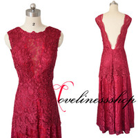 New Arrive Scoop A line Backless Burgundy Lace Prom Dress,Floor Length Sexy Deep V Back  Long Burgundy Party Dress 2015