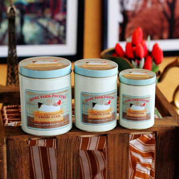 3 Pcs Retro Vintage Brooding Chicken Kitchen Coffee Tea Sugar Candy Biscuit Container Jar Tin Metal Zakka