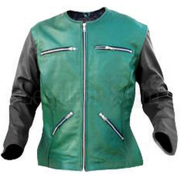 Women Green Collarless Leather Jacket