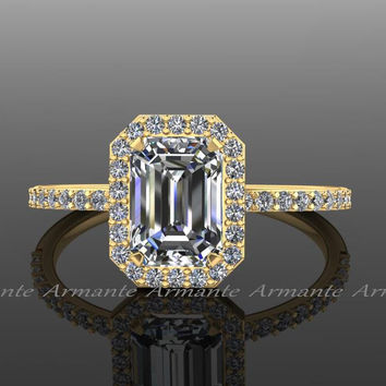 18K Yellow Gold Emerald Cut Moissanite Engagement Ring, Diamond and Moissanite Halo Ring, Wedding Ring RE0005Y