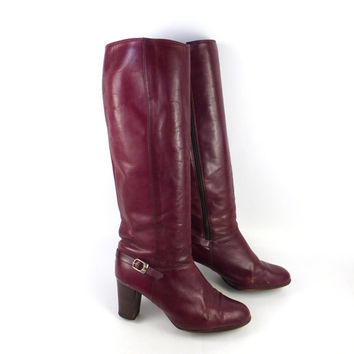 Burgundy Leather Boots Vintage 1980s Oxblood High Heel Heeled Brazil Women's size 8 B