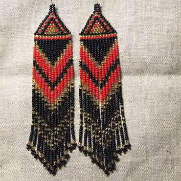 Native American  Beaded Earrings  Inspired. Gold Black Red Earrings. Dangle  Earrings.Long Earrings.  Beadwork.