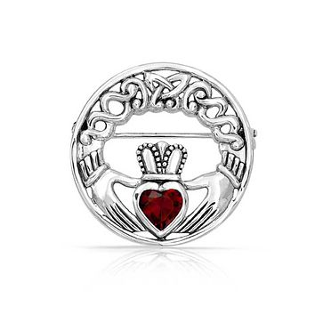 Celtic Claddagh Round Circle Brooch Pin Red Heart 925 Sterling Silver