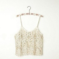 Free People Clothing Boutique > Beaded and Studded Battenburg Crop Cami