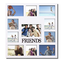 "Furnistar Decorative White Wood ""Friends"" Wall Hanging Collage Picture Photo Frame"