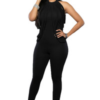 Good Stretch Tassel Black Jumpsuits For Long Pants Sleeveless Casual Long Party Jumpsuits Romper Full Bodysuits SM6