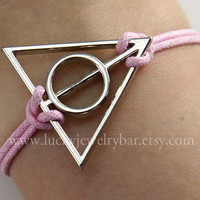 Deathly Hallows bracelet - antique silver deathly hallows charm pink wax cord bracelet, Harry potter