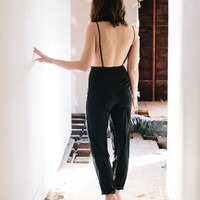 BLACK BACKLESS SILKY JUMPSUIT