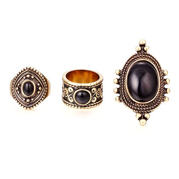 Antique Silver Gold Plated Ring Sets~Tibetan Oval Turquoise 3PCS