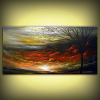 original landscape painting red large painting tree by mattsart