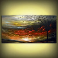 original landscape red large painting tree painting by mattsart