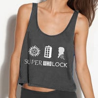 SuperWhoLock Crop Tank - Fits Many Sizes - Simple Minimal Design - Harry Potter Gift - Flowy Women Hipster Girls Teen Shirt