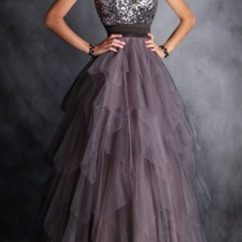 Glitter Top Tiered Tulle Prom Dress