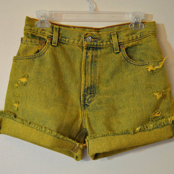 Levi's 550 Denim SHORTS  - Hand Dyed Yellow Gold Urban Style Denim Vintage Cut Off Shorts - Misses Size 10 (30)