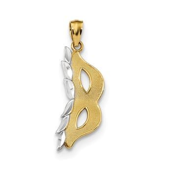14K Yellow Gold & White Rhodium Masquerade Mask Pendant, 10mm (3/8 in)