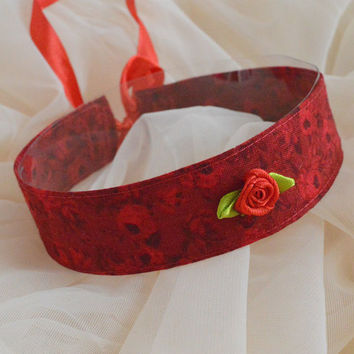 Wild rose - red choker - elegant gothic lolita kitten pet play everyday casual collar with roses