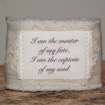 Inspirational Quote Bracelet Cuff ID Bracelet Tattoo Cover Up Coverup I am the master of my fate I am the captain of my soul
