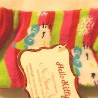 3-Pair Girls Socks Shoe Size 7.5-3.5 Hello Kitty Green Pink Children Kids