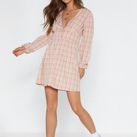 Check It at the Door Button-Down Mini Dress