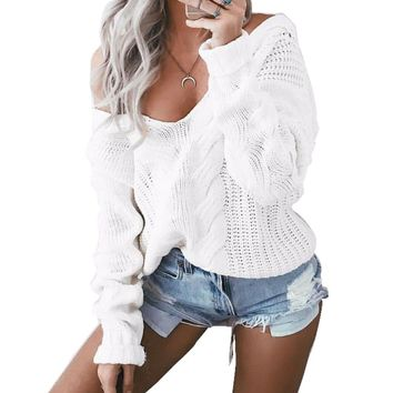 2016 New Women Cable Knit  Sweaters And Pullovers, (Color White Size: S M L) Casual Loose Winter V neck Twist Knitwear Outwear