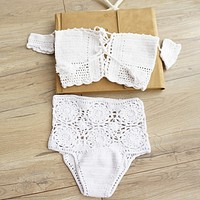 Knit white Off shoulder Short sleeves bikini chest lace up two piece bikini