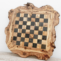 Father's Day Gift, Large Rustic Wooden Chess Board Set, Monogrammed Chess Set Board Game, Dad gift, Boyfriend Gift, Birthday Gift