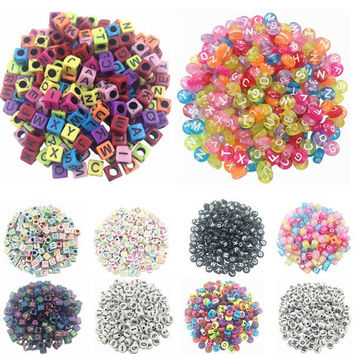 Fashion 100 piece/Lot Handmade/DIY Square/Round Alphabet Letter Beads Acrylic Cube for Jewelry Making Loom Band Bracelets