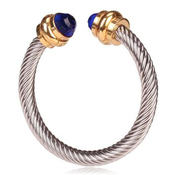 Style Cable Bracelet Polished Gold with Blue Crystal Gem