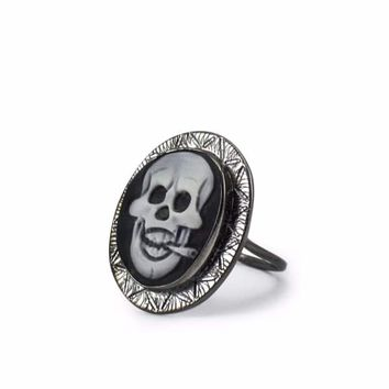Rocker Skull Cameo Ring by Vintouch Jewelry