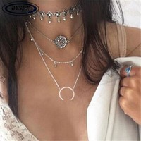BYSPT Boho Alloy Moon Pendant Fashion Necklace Multi Layer Chain Moon Necklace Alloy Pendant Necklaces Women Accessorie