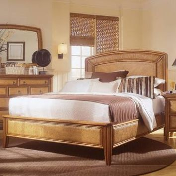American Drew Antigua Low Profile Bed in Toasted Almond