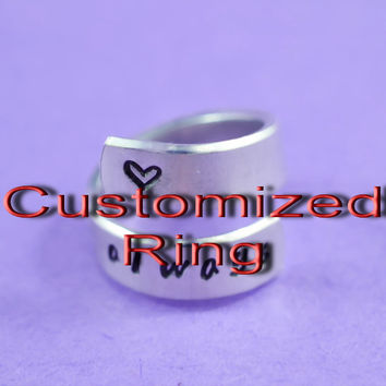 Customized Ring, Hand Stamped Aluminum Ring, Best Personalized Gift