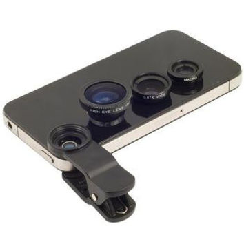 3 In 1 Universal Clip Mobile Phone Lens for iphone Samsung I9300 n7100 HTC Fish Eye + Macro + Wide Angle