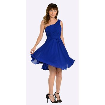 CLEARANCE - Short Royal Blue Bridesmaid Dress One Shoulder (Size Small)