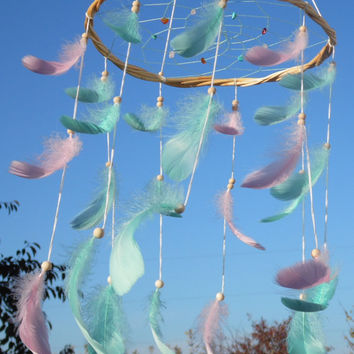 Dreamcatcher mobile Willow dream catcher Mint pink feather mobile Girl room decor Boho styles Hanging decor Baby mobile Free shipping
