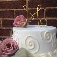 Monogram Custom Cake Topper - Wedding Cake Topper, Wire Initial, Wire Cake Topper, Personalized Cake Topper, Wedding Gift, Gold Cake Topper