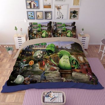 3D bedding set Plants vs Zombies skeleton printing Home textile cartoon twin full queen king size blanket cover duvet pillowcase