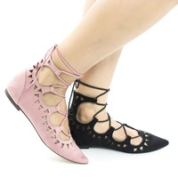Darthy1 Pink By Breckelle's, Pointy Toe Laser Cut Out Lace Up Leg Wrap Flat
