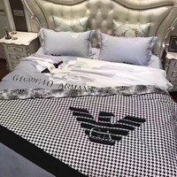 Armani Duvet cover Blanket Quilt coverlet Pillow shams 4 PC Bedding SET