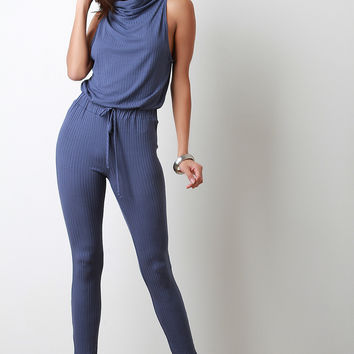Cowl Neck Ribbed Jersey Jumpsuit
