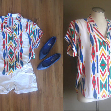 vintage 80s Abstract Navajo Button Up Shirt / Bright Colors Top