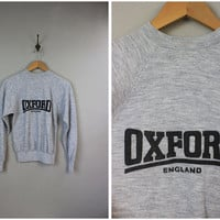 University of Oxford England Vintage Gray Sweater Pull-Over Size Small