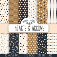 Hearts And Arrows Digital Paper Pack. Hearts Scrapbooking Paper. Cream Arrows Digital Clip Art. Gold Valentine's Day Printable Paper.