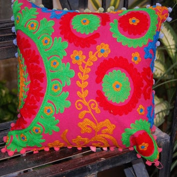 Pillow Cases Suzani Cushion Covers Wool Hand Embroidered Cushion Cases Decorative Pillows with Pom Poms Cute Gift for him or her Indian Art