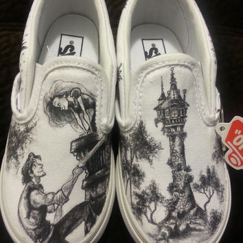 WRAPAROUND Disney's Tangled Custom Made Shoes in YOUTH size. Artwork and Shoes (Vans) INCLUDED