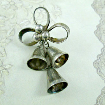 Vintage Mexico TS-260 925 Sterling Silver Earring with Three Bells and Ribbon Loops Single Earring Wear Repurpose Craft Jewelry