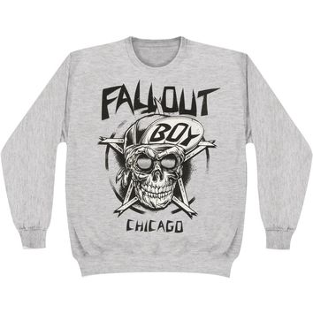 Fall Out Boy Men's  Skull Sweatshirt Grey Rockabilia