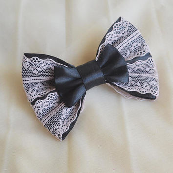 "5"" Hair bow - black and beige - pastel goth lolita harajuku romantic victorian steampunk princess fashion kawaii costume prop - nekollars"