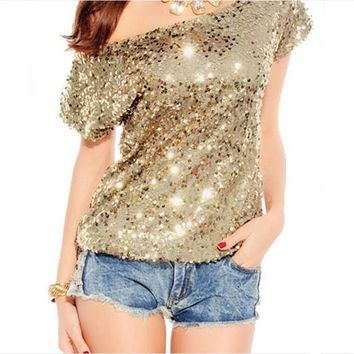 Women Sequined T shirt 2017 European New Fashion Batwing Sleeve Elastic T-shirt Casual Loose Solid Slash neck Tops 62626